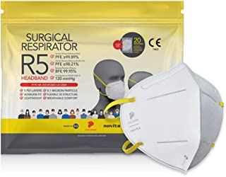 novita Surgical Respirator R5 Headband | FDA EUA Listed, FFP2, CE Certified | Made in Singapore | L Size | 20 Pieces in a ...