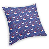 DHNKW Retro Square Decorative Throw Pillow Cushion Cover,Origami Swans Seigaiha Japanese Minimalistic Waves Pattern,18 X 18 Inches