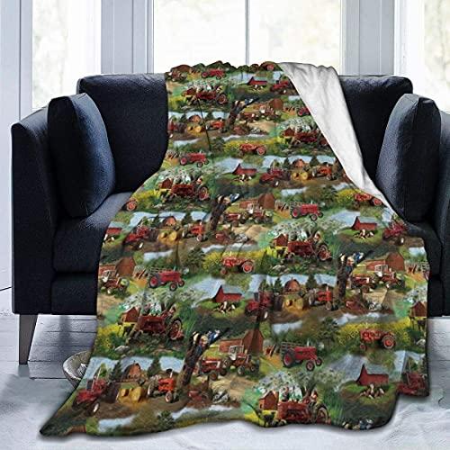 Manta de franela Sherpa Farmall Tractor suave de felpa para casa, oficina, viaje, sofá es ligero y cálido y cómodo de 127 x 101 cm