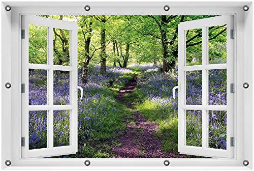 Wallario Garten-Poster Outdoor-Poster 80 x 120 cm mit Fenster-Illusion: Blaues Hasenglöckchen im Wald in Premiumqualität, für den Außeneinsatz geeignet
