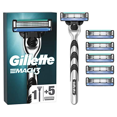 Gillette Mach3 Rasierer Herren mit 6 Rasierklingen, Klingen aus präzisionsgeschliffenem Stahl für bis zu 15 Rasuren pro Rasierklinge, aktuelle Version