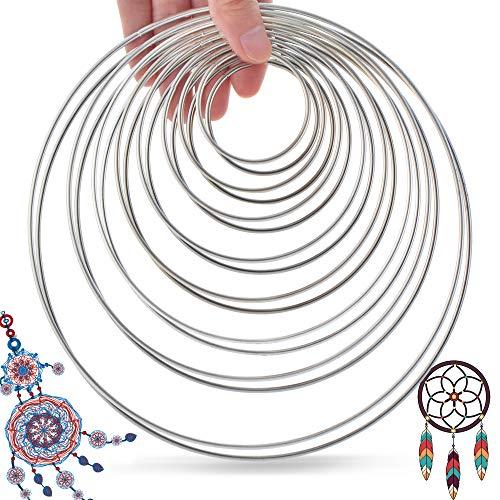 SOSMAR 16 stuks metalen ringen draadringen dromenvanger knutselen bloemen hoepels ringen, zilver, 5/6,5/8/10/12/14/16/19 cm wandbehang mobiele decoratieve ring