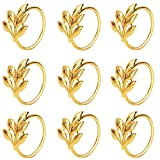 KPOSIYA Set of 20 Leaf Napkin Rings Metal Gold Napkin Holder Table Napkin Rings for Dinning Table Parties Everyday (Ye Zi-Gold 20)