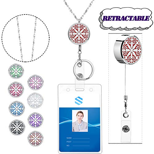 AryaHozel Retractable Lanyard Diffuser Necklace with ID Badge Holder Key Chain Stainless Steel Beaded Chain Lanyard Necklace for Her Women Girl Nurse Essential Oil Aromatherapy Locket Pendent Diffuser