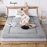 LIMIAO Colchón de Suelo de futón Espesar Tatami para Dormir Colchoneta para Dormir Plegable y Agradable a la Piel Cordero Cachemira Rollo de Cama japonés, Altamente Transpirable,Gris,180×200cm