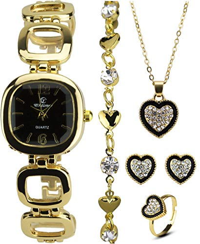 Cofanetto Orologio Donna Nero - Parure di gioielli- Collana-Anello- Orecchini - Cinturino