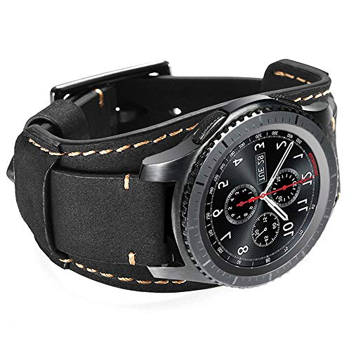 CooBES Kompatibel mit Samsung Galaxy Watch 46mm/Gear S3 Frontier/Galaxy Watch 3 45mm/Classic Armband,22mm Echtes Leder Uhrenarmband Cuff Ersatz Armbänder mit für Männer oder Frauen (22mm, Schwarz)
