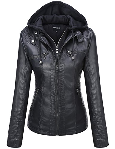 Tanming Women's Hooded Faux Leather Jackets (XX-Large, Black)