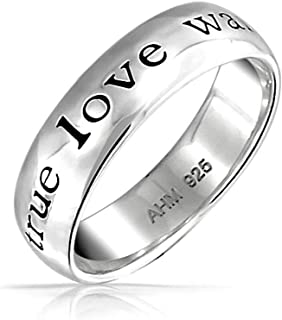 Personalized Mantra Sentimental Words True Love Waits Purity Promise Ring Band For Teen Sterling Silver Custom Engraved