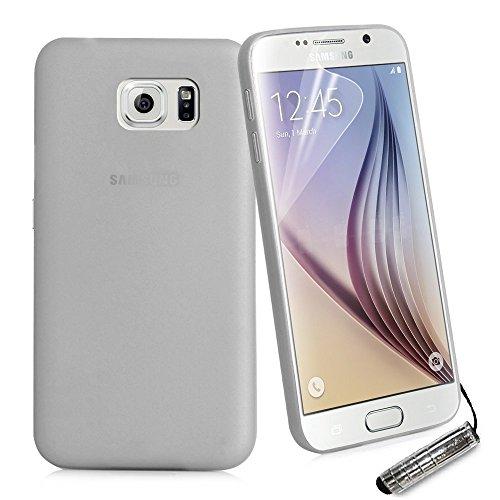 EASYPLACE, Cover Case Brinata Resistente e Protettiva, Ultra Sottile Slim 0,3mm, Grigio Satinato, Samsung S6