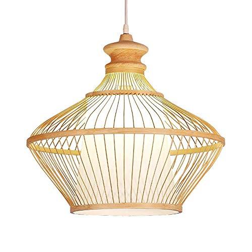 Luce a sospensione moderna Vintage Handmade Bamboo Paralume Appeso Light Sala da pranzo Sala da pranzo Plafoniera Ristoranti Ciondolo Illuminazione Cucina Isola Sospensione Light Lampada da sospension