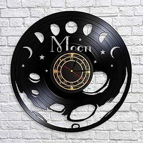SHILLPS Fase De La Luna Disco De Vinilo Vintage Arte De Pared Dormitorio Reloj De Pared Silencioso Espacio Luna Decoración del Hogar Reloj De Pared De Fase Lunar Celestial No Led