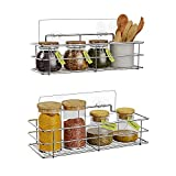 HOSUN Hanging Spice Racks for Wall with Hooks-2 Pack, Wall Mounted Spice Shelf for Kitchen, No Drilling Stainless Steel Seasoning Organizer…