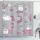 ABAKUHAUS Einhorn-Katze Duschvorhang, Nette Mermaid Cat, Leicht zu pflegener Stoff mit 12 Haken Wasserdicht Farbfest Bakterie Resistent, 175 x 200 cm, Grau Hellrosa Weiß