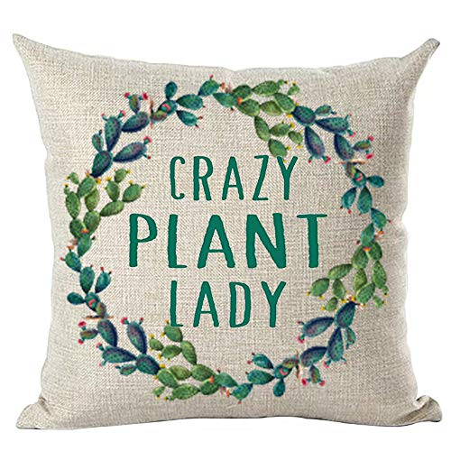ramirar Green Word Art Quote Crazy Plant Lady Cactus Pink Flower Round Circular Garland Decorative Throw Pillow Cover Case Cushion Home Living Room Bed Sofa Car Faux Cotton Linen Square 18 x 18 Inches