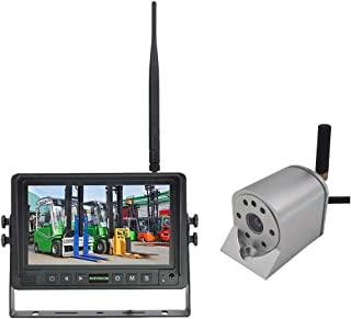 SHIVISION 2.4GHz Digital Wireless AHD Forklift Camera System 4 Channel 7 Inch AHD Monitor and Waterproof AHD 720p Front Vi...