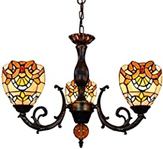 Stained Glass lamp, Vintage Decorative Chandelier 6 Inches Stained Glass Chandelier Baroque Shades 3 Arms Chandelier with ...