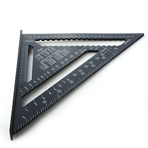 12 pollici Righello triangolo in lega di alluminio, 4EVERHOPE Triangle Shape Square Ruler Strumento di misura a 90 gradi per carpentiere