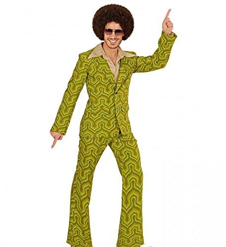 70er Jahre Retro Herren ANZUG Tapetenmuster Grün Disco Kostüm Jackett Hose Siebziger Schlager, Größe:M