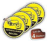 Lot de 4 Stickers/Autocollant Vidéo-Surveillance 24/24h - 8 cm