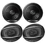 Car Speaker Package: 1 Pair 6.5' 300 Watts Max Power 2-Way Coaxial Car Speakers and 1 Pair 6x9 4-Way 450 Watts Max Power Black Vehicle Speakers
