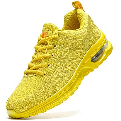 Damyuan Zapatos Correr para Hombres Casual Running Tenis Sneakers Deportivas Gimnasio Gym Trail Fitness Sport Zapatillas Transpirables Plataforma Trekking Calzado Amarillo 45 EU