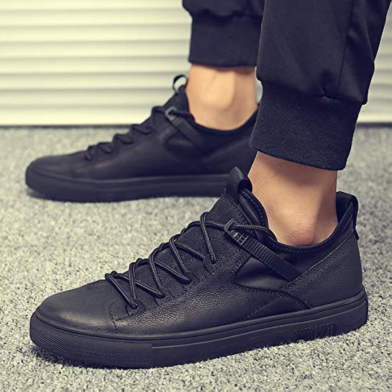 LOVDRAM Men'S Leather shoes Autumn And Winter Men'S shoes Fashion shoes Small Black shoes Men'S Casual shoes Plus Cotton shoes Wild Black shoes Men