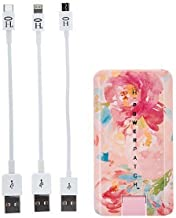 HALO Powerpatch Phone Charger - 3000mAh Power Bank - External Battery Pack USB Port Phone Charger Compatible with Multiple Devices, Blush Floral