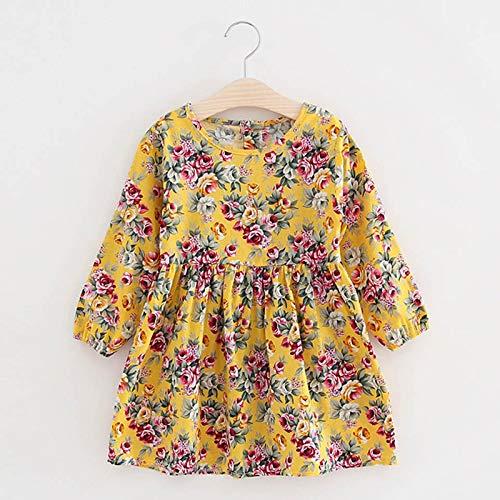 Vestido de princesa floral de manga larga para niñas, plisado, informal, para niños de 3 a 11 años