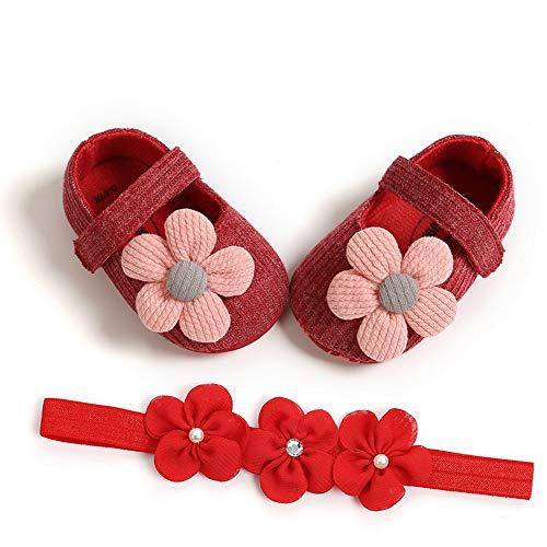 CHIRORO Babyschuhe Stirnband Geschenkset Neugeborenen rutschfest Sonnenblume Prinzessin Taufschuhe Kleinkindschuhe Prewalker mit Blumen Haarband,rot,13cm