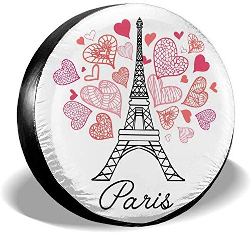 Belleeer Reserveradabdeckung,Eifel Tower Paris Bursting with St Valentines Day Spare Wheel Tire Cover Waterproof Dust-Proof Universal for,Trailer, RV, SUV and Many Vehicle 14
