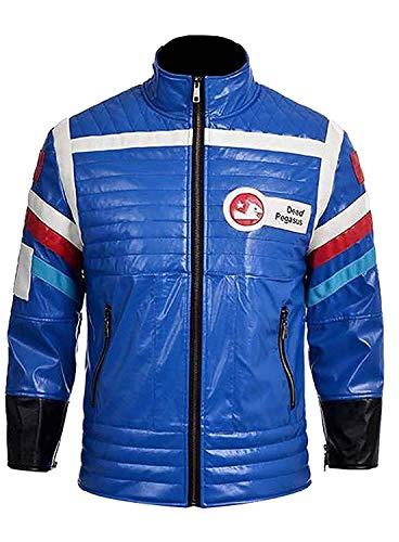 Prime-Fashion Party Poison My Chemical Romance Danger Days Gerard Way Blue Costume Leather Jacket, Medium