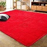 LOCHAS Ultra Soft Indoor Modern Area Rugs Fluffy Living Room Carpets for Children Bedroom Home Decor Nursery Rug 3x5 Feet, Red