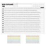 2020 Blockjahr Planer Tagesplan Papier Wandkalender mit 2 Blatt EVA bunte Mark Aufkleber für Office School Home Supplies