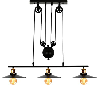 T&A 3-Light Kitchen Island Pulley Pendant Light with Black Metal Finish,Adjustable Industrial Rustic Farmhouse Chandelier for Dining Room Breakfast Bar Pool Table