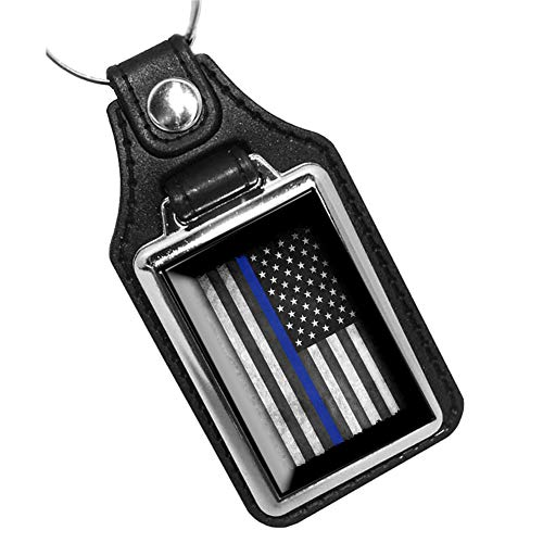 Brotherhood Thin Blue line Subdued American Flag for Law Enforcement Keychain Key Holder Key Ring for Men Heavy Duty Car Keyring for Men and Women
