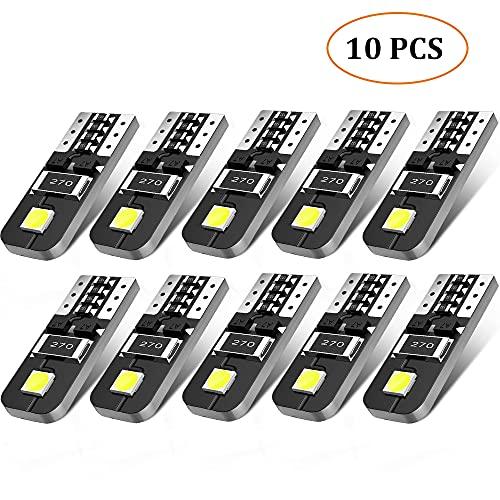 AGPTEK 10X Ampoules T10 LED Voiture Lampe Xénon 12V Chipsets W5W 2825 6000K Ultra Claire pour Lumière Dôme Carte Côté Marqueur Courtois Feux de Plaque d'immatriculation-12V Blanc