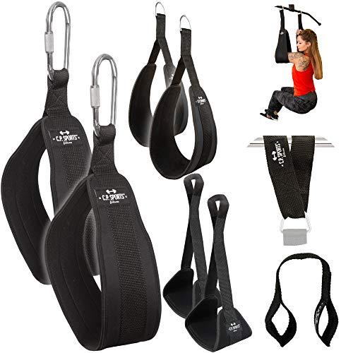 C.P. Sports Bauchtrainingsschlaufen Armschlaufen für Bauchtraining Bauchmuskelschlaufen + Abdominal Loops für Jede Befestigung überall (Bauchschlaufen mit Karabinerhaken inkl. Loops)