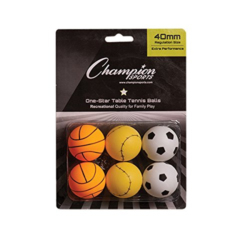 New Champion Sports 1 Star Table Tennis Ball Pack - Sport Theme Ping Pong Balls, Set of 6, with 40mm...