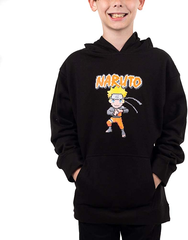 Naruto Anime Cartoon 70% OFF Outlet Youth Black Sweatshirt Boys Quantity limited Hooded