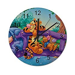 UHBBT Eeyore and Tigger 12 inch Wooden Indoor Silent Decorative Battery Operated Lager Wall Clock for Living Room Home Office School Rustic Clock Round Wall Clock3030cm