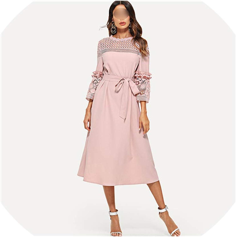 Boommoon Lace Dress Pink 3 4 Sleeve Ruffle Straight Tunic Dresses