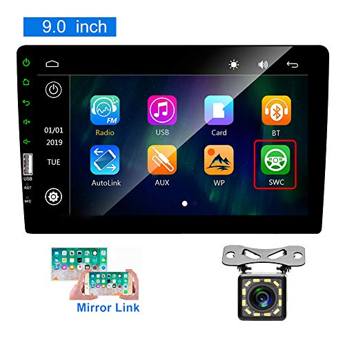 Hikity Bluetooth Car Stereo Double din 9 Inch Touch Screen Car FM Radio with USB/Bakcup Camera Input Supports Mirror Link for iOS/Android Phone + Backup Camera