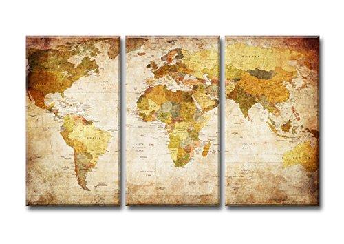 160 x 90 cm Visario 1166 Bilder und Kunstdrucke auf Leinwand Bild Welt drei Teile