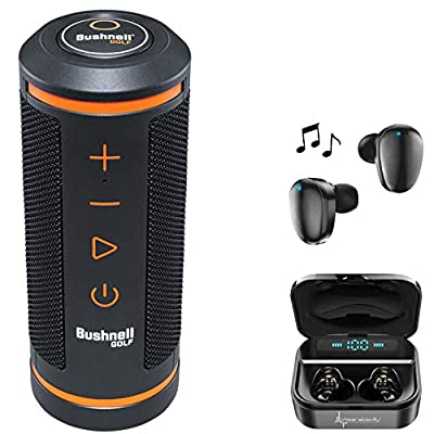 Wearable4U Bushnell Wingman Golf GPS Bluetooth Speaker with Included Ultimate Black Earbuds with Charging Power Bank Case Bundle