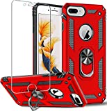 Funda para iPhone 8 Plus,iPhone 7 Plus,iPhone 6s Plus/6 Plus,Folmeikat funda protectora de pantalla de 360 grados,anillo de metal giratorio delgado,absorción golpes,esquinas reforzadas TPU 5.5' Rojo