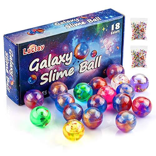 Luclay Galaxy Slime Balls per Bambini, Stucco a Base di Uova lanuginose ed Elastiche - Non appiccicoso, Sollievo da Stress e ansia - Putty Slime Super Soft & Squishy- Confezioni da 18 Pezzi