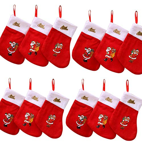 12 Pcs Mini Christmas Stockings,Fabric with Santa Printed,Christmas Decoration, Random Pattern