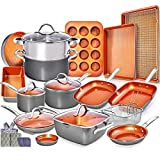 Copper Pots and Pans Set -23pc Copper Cookware Set Copper Pan Set Ceramic Cookware Set Ceramic Pots...