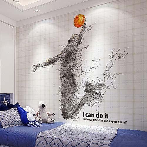 Pdrui Wandtattoo für Schlafzimmer, Linien Basketball Schießen Sport Wandsticker als Wanddekoration für Wohnzimmer Kinderzimmer Wand Fenster Flur 100×105cm   Geschenke für Basketball liebhaber